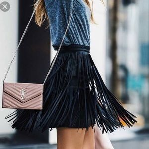 AnA Faux / Vegan Leather Fringe Mini Skirt Xsmall